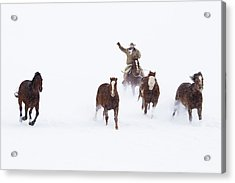 Cowboys And Horses In Winter Acrylic Print by Frank Lukasseck