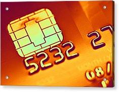 Credit Card Microchip, Computer Artwork Acrylic Print by Pasieka