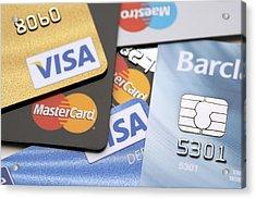 Credit Cards Acrylic Print by Jon Stokes