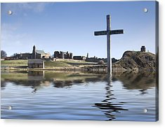 Cross In Water, Bewick, England Acrylic Print by John Short