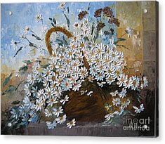 Acrylic Print featuring the painting Daisies by AmaS Art