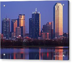 Dallas Skyline Reflected In Pond At Dusk Acrylic Print