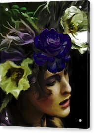 Dark Wood Nymph Acrylic Print by Jill Balsam