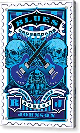 David Cook Umgx Vintage Studios Blues Crossroads Illustrated Stamp Art Poster Acrylic Print by David Cook  Los Angeles Prints
