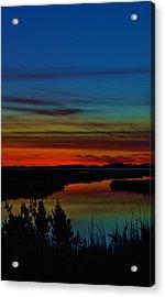 Deep Marshland Sunset Acrylic Print by William Bartholomew