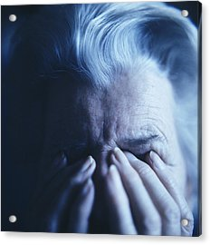 Depressed Elderly Woman Acrylic Print by Cristina Pedrazzini