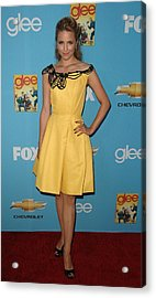 Dianna Agron Wearing A Carolina Herrera Acrylic Print by Everett