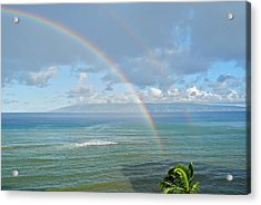 Acrylic Print featuring the photograph Double Rainbow In Maui by Kirsten Giving
