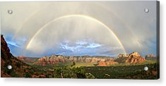 Double Rainbow Over Sedona Acrylic Print by David Sunfellow