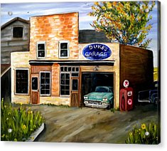 Duke's Garage Acrylic Print by Renate Nadi Wesley