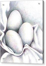 Eggs In Folds Acrylic Print by Lissa Rachelle