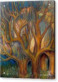 Elephant In Trees Acrylic Print by Monica Furlow
