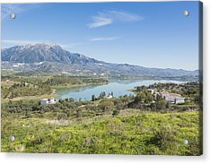 Embalse De La Viñuela, Vinuela Reservoir, Spain Acrylic Print by Ken Welsh
