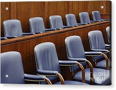 Empty Jury Seats In Courtroom Acrylic Print by Jeremy Woodhouse
