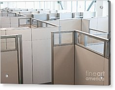 Empty Office Cubicles Acrylic Print by Jetta Productions, Inc