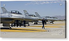 F-16 Pilots Work With Crew Chiefs Acrylic Print by HIGH-G Productions