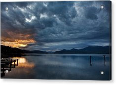 Fall Sunset Over Lake Pend Oreille Acrylic Print by Marie-Dominique Verdier