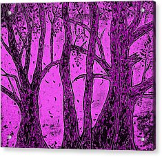 Falling Leaves Purple Acrylic Print