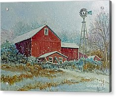 Acrylic Print featuring the painting Farm In Winter by Louise Peardon
