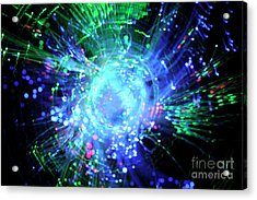 Fiber Optic Swirl Acrylic Print by Sami Sarkis