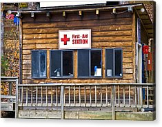 First Aid Station Acrylic Print by Susan Leggett