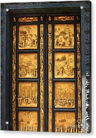 Florence Italy - Baptistry Doors Acrylic Print by Gregory Dyer