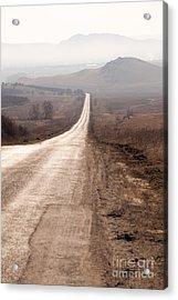 Foggy Road In Dobrogea Acrylic Print by Gabriela Insuratelu
