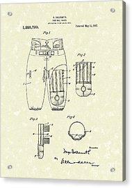 Football Pants 1917 Patent Art Acrylic Print