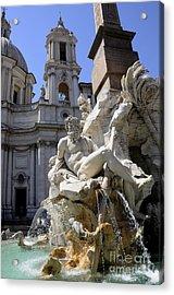 Fountain. Piazza Navona. Rome Acrylic Print by Bernard Jaubert