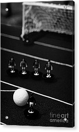 Free Kick With Wall Of Players Football Soccer Scene Reinacted With Subbuteo Table Top Football  Acrylic Print by Joe Fox