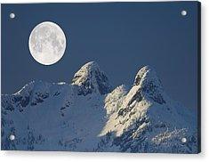 Full Moon Over The Lions, Canada Acrylic Print by David Nunuk
