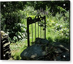 Gate To The Garden Acrylic Print by Suzanne Fenster