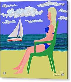 Girl At Beach Acrylic Print