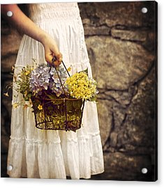 Girl With Flowers Acrylic Print by Joana Kruse