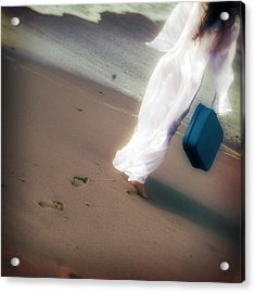 Girl With Suitcase Acrylic Print by Joana Kruse