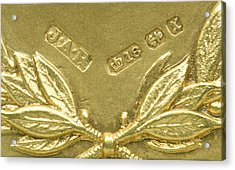 Gold Hallmarks, 1897 Acrylic Print by Sheila Terry
