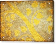 Golden Tree Pattern On Paper Acrylic Print by Setsiri Silapasuwanchai