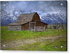 Grand Teton Iconic Mormon Barn Fence Spring Storm Clouds Acrylic Print by John Stephens