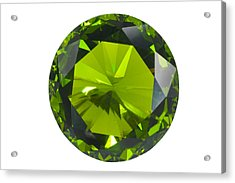 Green Gem Isolated Acrylic Print by Atiketta Sangasaeng