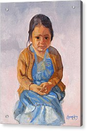 Guatemalan Girl In Blue Dress Acrylic Print