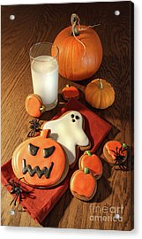 Halloween Cookies With A Glass Of Milk Acrylic Print by Sandra Cunningham