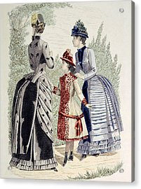 Hand-colored Engraving Of Two Women Acrylic Print by Everett