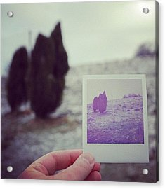 Hand Holding Polaroid - Concept Image For Memory Or Time Or Past Acrylic Print