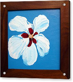 Acrylic Print featuring the painting Hibiscus On Blue by Karen Nicholson