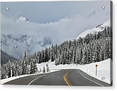 Highway 40 In Winter, Highwood Pass Acrylic Print by Darwin Wiggett