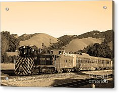 Historic Niles Trains In California.southern Pacific Locomotive And Sante Fe Caboose.7d10819.sepia Acrylic Print by Wingsdomain Art and Photography