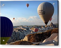 Hot Air Balloons Over Cappadocia Acrylic Print by RicardMN Photography