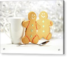 Hot Holiday Drink With Gingerbread Cookies  Acrylic Print by Sandra Cunningham