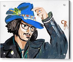 Acrylic Print featuring the painting Johnny Depp 3 by Audrey Pollitt
