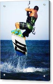 Kitesurfer Acrylic Print by Stelios Kleanthous